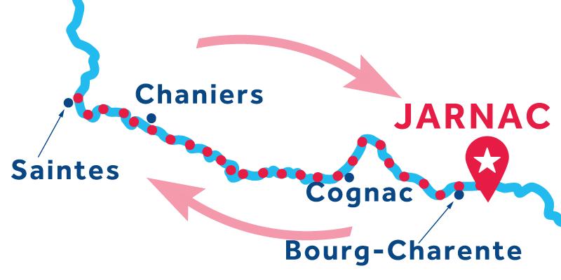 Jarnac IDA Y VUELTA vía Cognac & Saintes