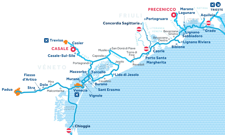 Mapa: Venecia y Friuli