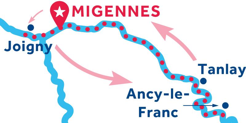 Migennes IDA Y VUELTA vía Joigny, Auxerre & Tanlay