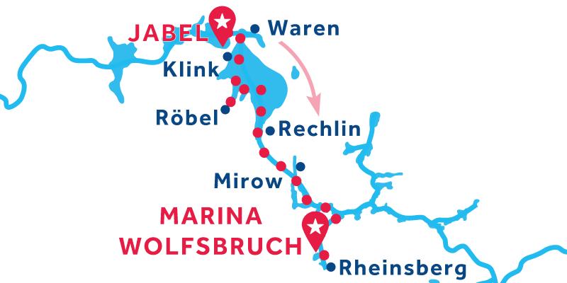 De Jabel a Marina Wolfsbruch vía Rheinsberg & Mirow