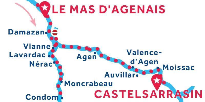 De Le Mas d'Agenais a Castelsarrasin vía Condom