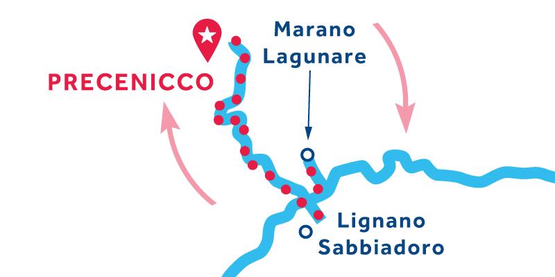 Precenicco IDA Y VUELTA vía Marano Lagunare, Grado & Aquileia