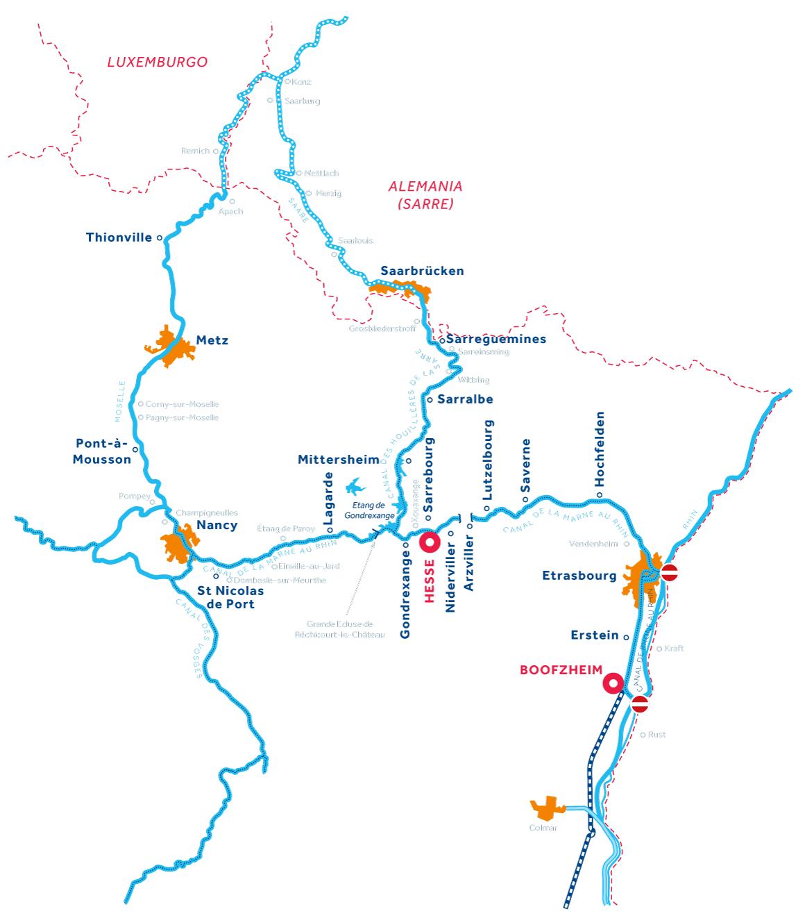 Mapa: Alsacia-Lorena