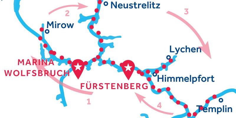Fürstenberg IDA Y VUELTA vía  Waren, Neustrelitz & Templin