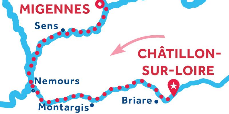 De Châtillon-sur-Loire a Migennes vía Montargis & Sens