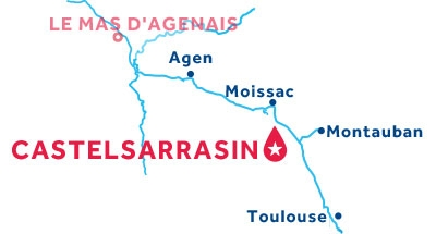 Mapa de ubicación de la base de Castelsarrasin
