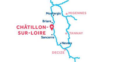 Mapa de ubicación de la base de Châtillon-sur-Loire