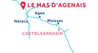 Mapa de ubicación de la base de Le Mas-d'Agenais