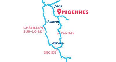 Mapa de ubicación de la base de Migennes
