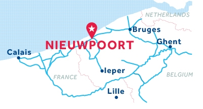 Mapa de ubicación de la base de Nieuwpoort