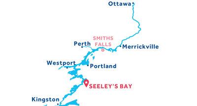 Mapa de ubicación de la base de Seeley's Bay