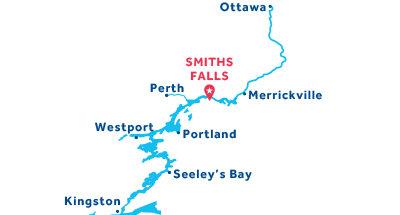Mapa de ubicación de la base de Smiths Falls