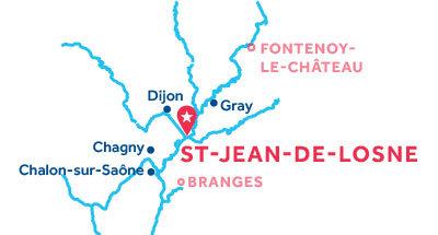 Mapa de ubicación de la base de Saint-Jean-de-Losne
