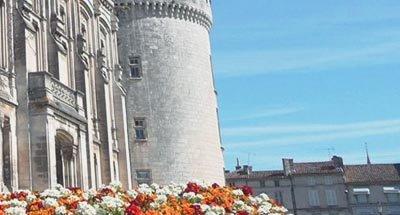 Castillo y flores en Charente