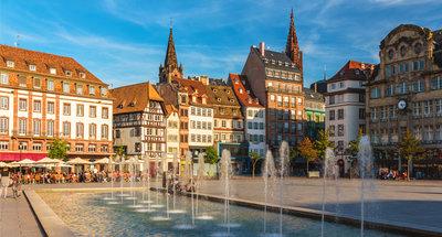 Plaza del pueblo en Estrasburgo