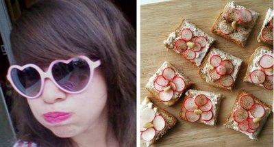 Aperitivo: tosta de queso de cabra fresco, rábanos y piñones del blog Le Mâle Saint