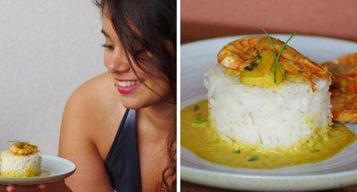 gambas con salsa de curry de coco del blog Elise Dit a Table