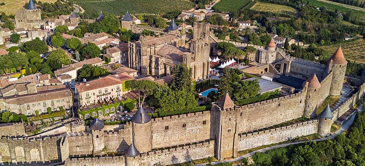 Vista aérea de Carcassonne, Canal du Midi
