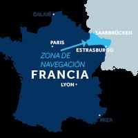 El mapa indica la región de navegación de Alsacia en Francia