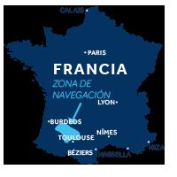 El mapa indica la región de navegación de Aquitania en Francia