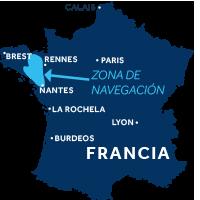 El mapa indica la región de navegación de Bretaña en Francia