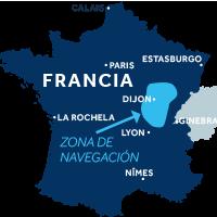 El mapa indica la región de navegación de Borgoña: Franche-Comté en Francia