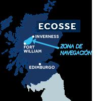 El mapa indica la región de navegación del Canal de Caledonia en Escocia