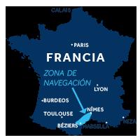 El mapa indica la región de navegación de Camarga en Francia