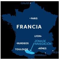 El mapa indica la región de navegación del Canal du Midi en Francia