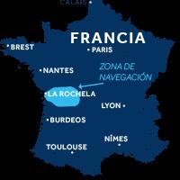 El mapa indica la región de navegación del río Charente en Francia