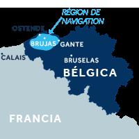 El mapa indica la región de navegación de Flandes en Bélgica