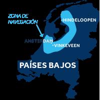 El mapa indica la región de navegación de Frisia y Holanda en los Países Bajos