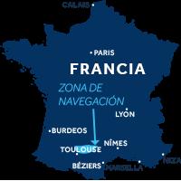 El mapa indica la región de navegación del río Lot en Francia