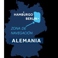 El mapa indica la región de navegación de Mecklemburgo & Brandeburgo en Alemania