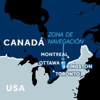 El mapa indica la región de navegación del Canal Rideau en Canadá