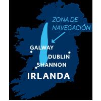 El mapa indica la región de navegación del Shannon & del Erne en Irlanda