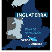 El mapa indica la región de navegación del Támesis en Inglaterra