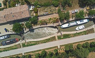 Vista aérea de las esclusas de Fonseranes, Canal du Midi