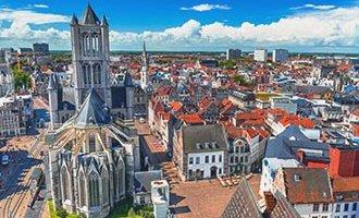 Vista sobre Gante y la iglesia de San Nicolás