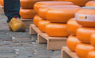Quesos Gouda amontonados en el mercado de quesos